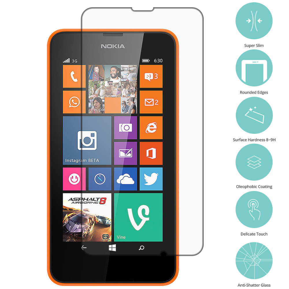 Nokia Lumia 630 635 Clear Tempered Glass Film Screen Protector Clear