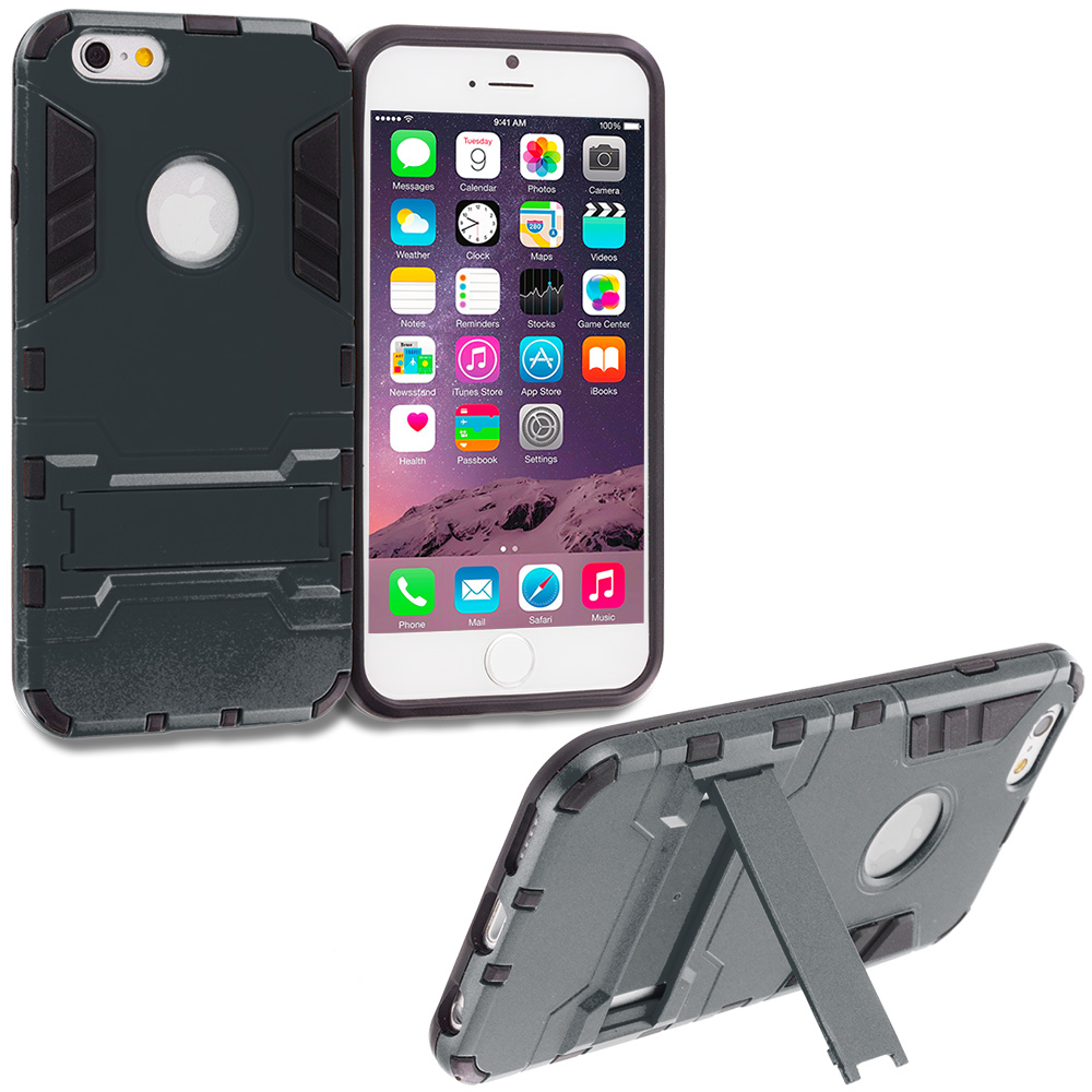 Apple iPhone 6 6S (4.7) Black Hybrid Transformer Armor Slim Shockproof Case Cover Kickstand