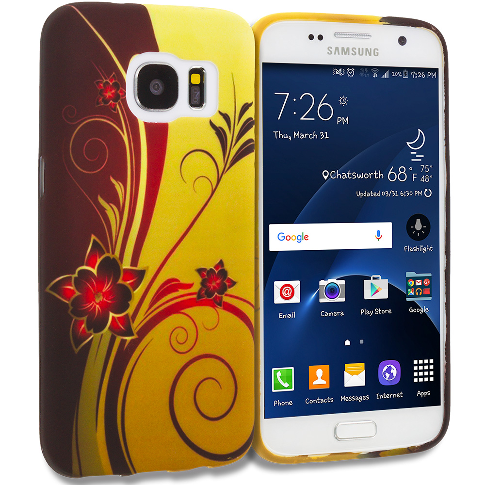 Samsung Galaxy S7 Combo Pack : Flower with Red Leaf TPU Design Soft Rubber Case Cover : Color Red Golden Flower