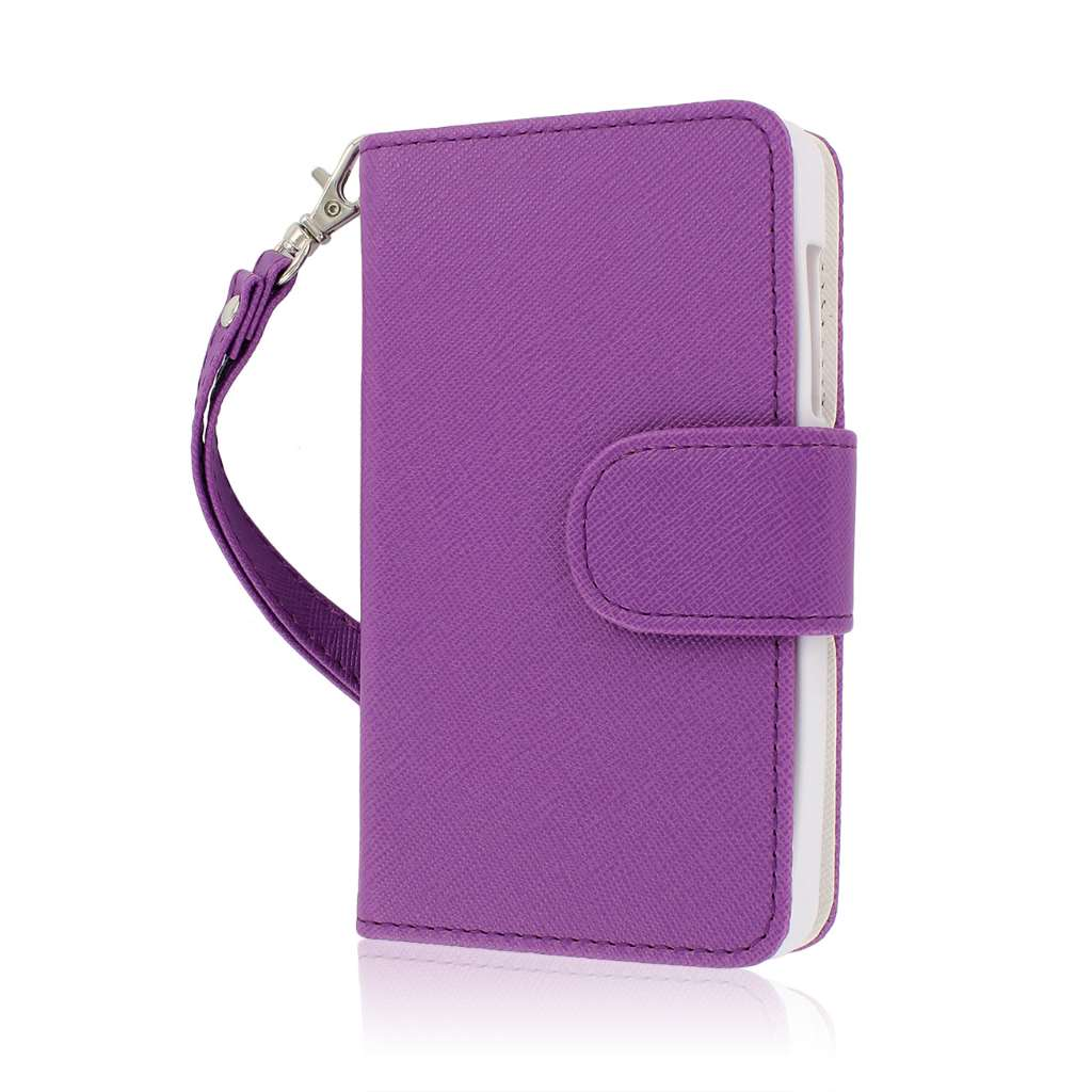 ZTE Engage - Purple / White MPERO FLEX FLIP Wallet Case Cover