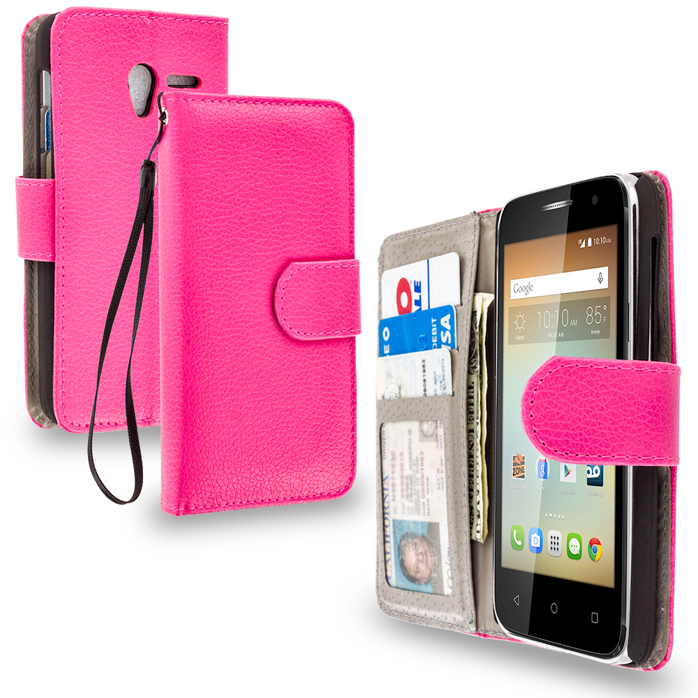 Alcatel One Touch Elevate Hot Pink Leather Wallet Pouch Case Cover with Slots