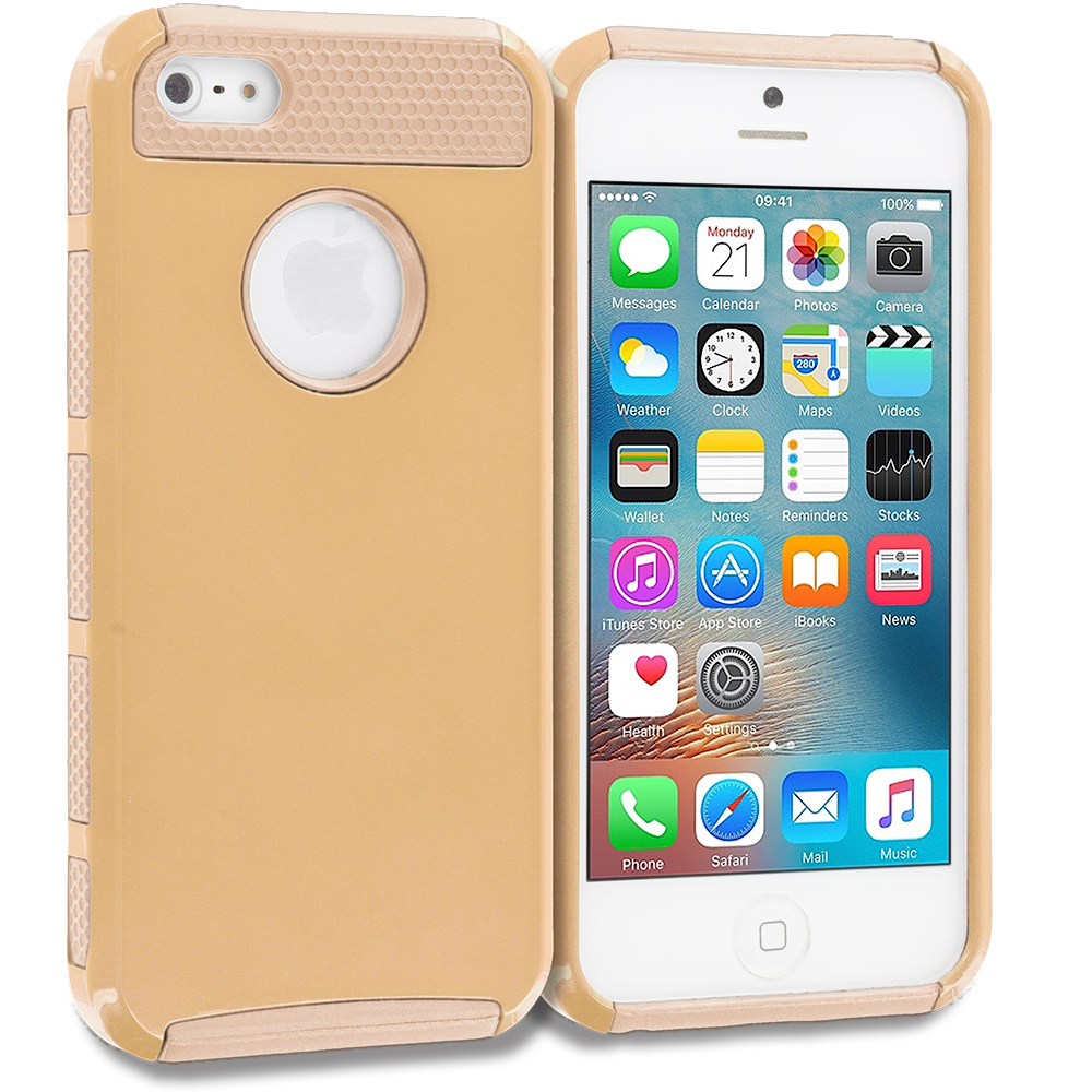 Apple iPhone 5/5S/SE Combo Pack : Gold / Gold Hybrid Hard TPU Honeycomb Rugged Case Cover : Color Gold / Gold