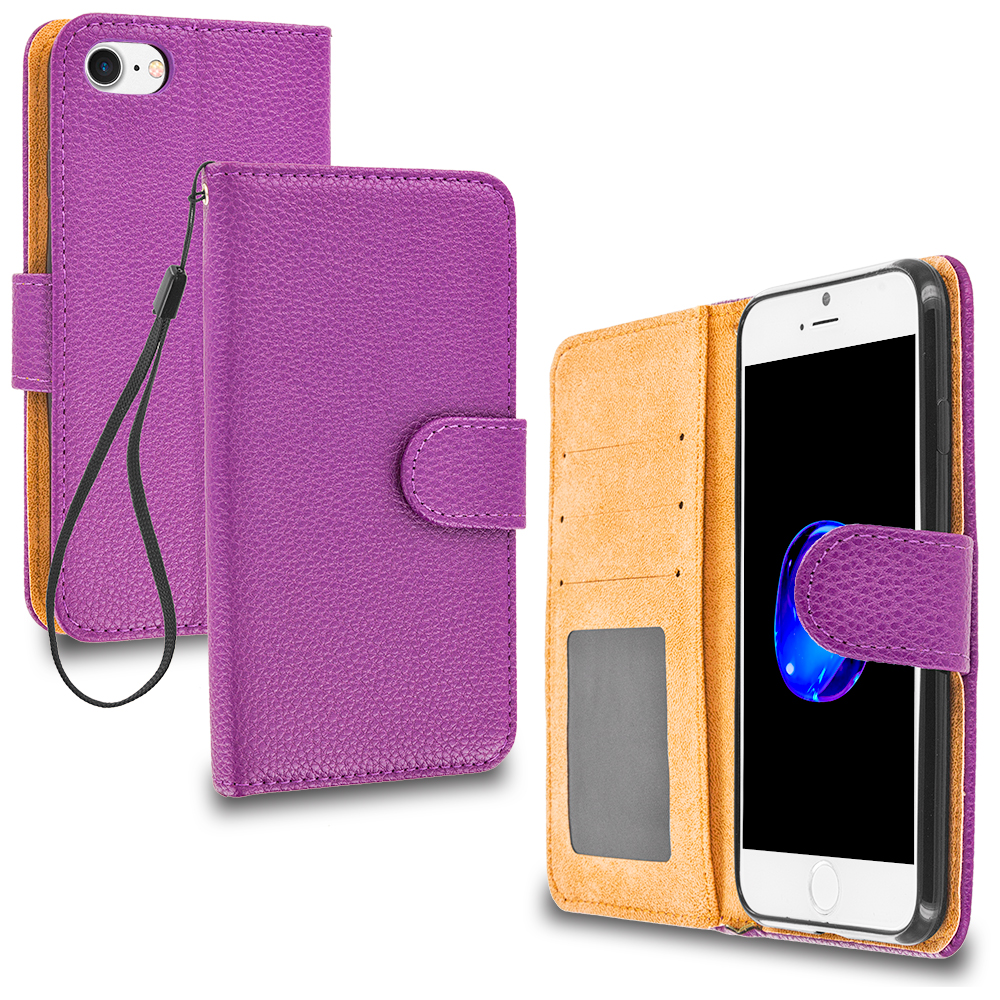 Apple iPhone 7 Plus Purple Leather Wallet Pouch Case Cover with Slots