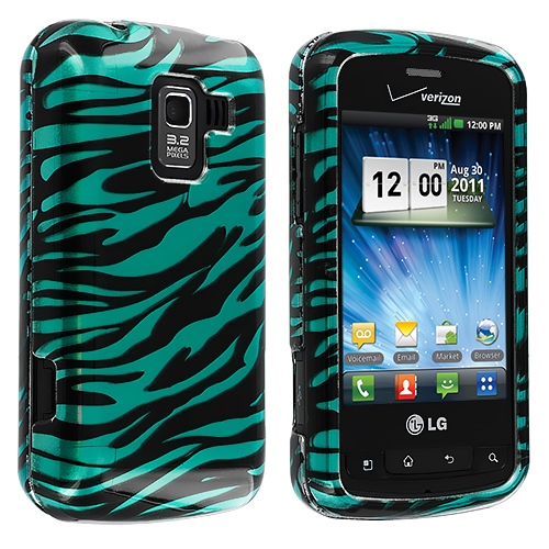 LG Enlighten VS700 Black / Baby Blue Zebra Design Crystal Hard Case Cover