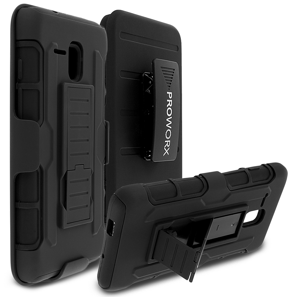 Alcatel OneTouch Fierce XL Black ProWorx Heavy Duty Shock Absorption Armor Defender Holster Case Cover With Belt Clip