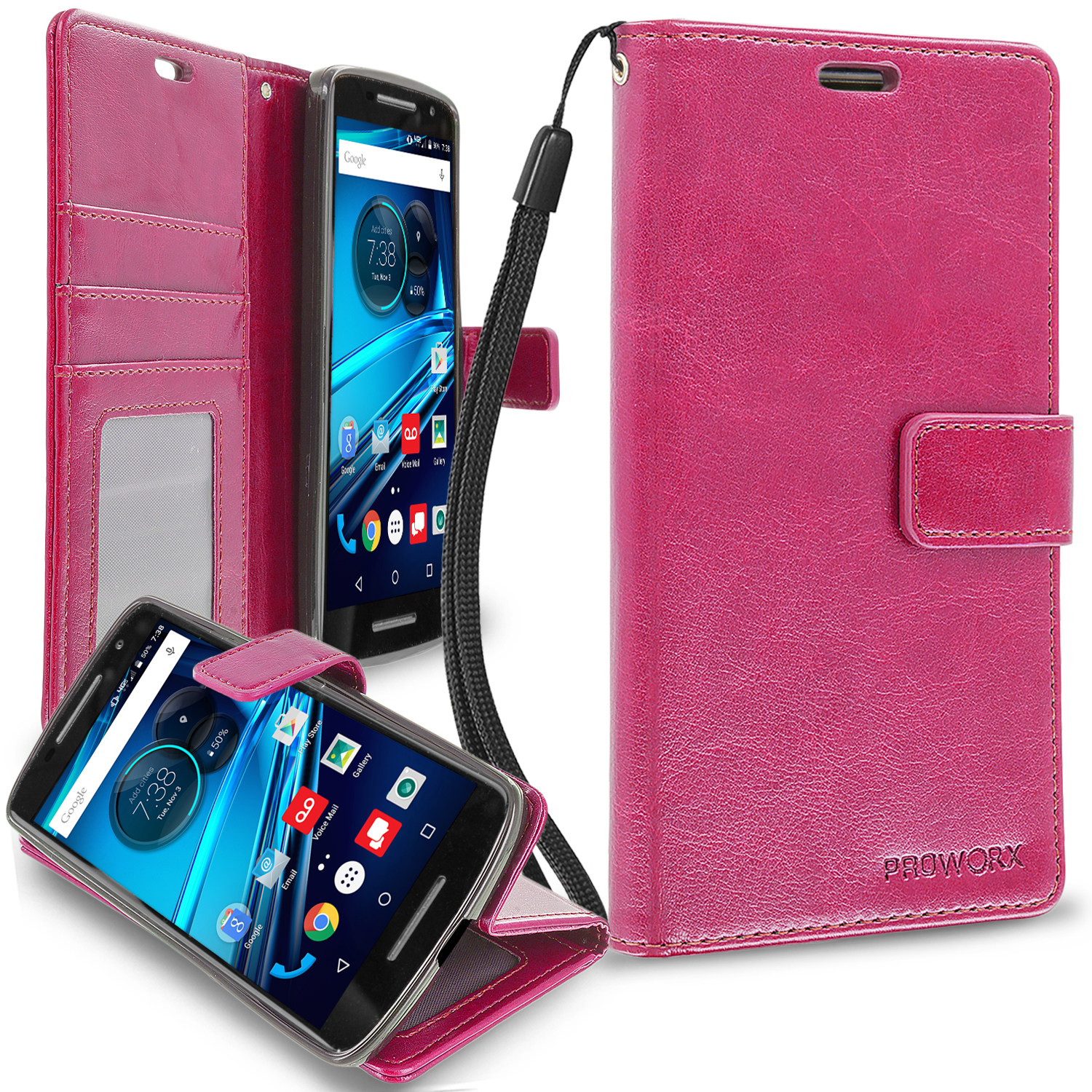 Motorola Droid Maxx 2 XT1565 Hot Pink ProWorx Wallet Case Luxury PU Leather Case Cover With Card Slots & Stand