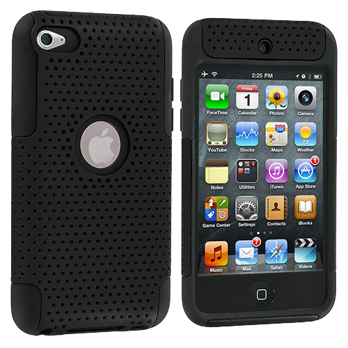 Apple iPod Touch 4th Generation Black Hybrid Mesh Hard/Soft Case Cover