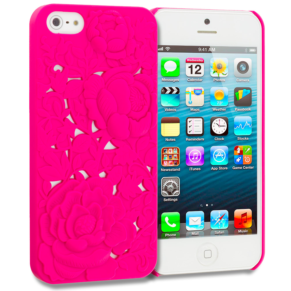 Apple iPhone 5/5S/SE Hot Pink 3D Rose Hard Rubberized Back Cover Case