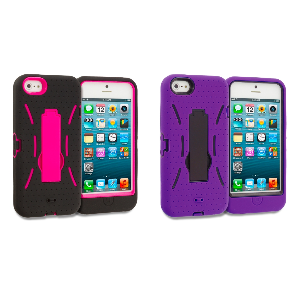 Apple iPhone 5 Combo Pack : Black / Hot Pink Hybrid Heavy Duty Hard/Soft Case Cover with Stand
