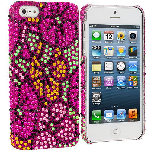 Apple iPhone 5 Combo Pack : Hot Pink Hawaii Flower Bling Rhinestone Case Cover : Color Hot Pink Hawaii Flower