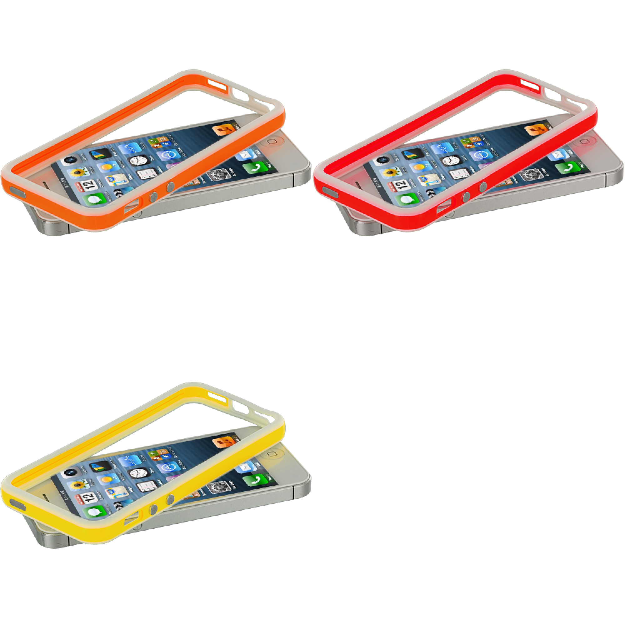 Apple iPhone 5/5S/SE Combo Pack : White / Orange TPU Bumper with Metal Buttons