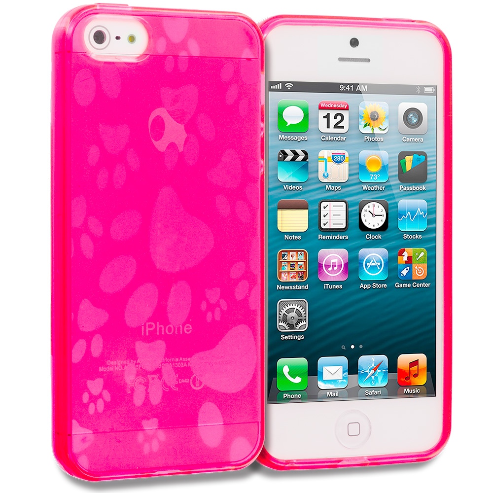 Apple iPhone 5/5S/SE Hot Pink Dog Paw TPU Rubber Skin Case Cover