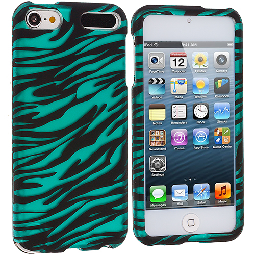 Apple iPod Touch 5th 6th Generation Black / Baby Blue Zebra Hard Rubberized Design Case Cover