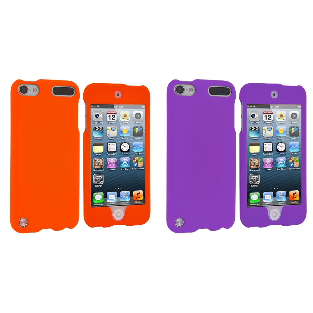 Apple iPod Touch 5th 6th Generation 2 in 1 Combo Bundle Pack - Orange (Covered) Purple Hard Rubberized Case Cover