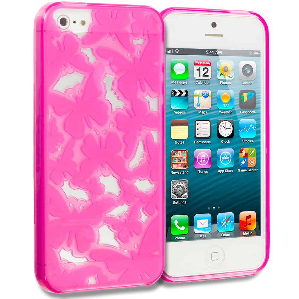 Apple iPhone 5/5S/SE Combo Pack : Pink Butterfly Cutout TPU Rubber Skin Case Cover : Color Pink Butterfly Cutout