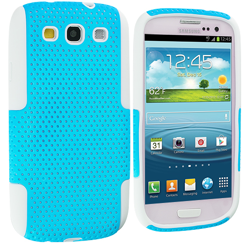 Samsung Galaxy S3 White / Baby Blue Hybrid Mesh Hard/Soft Case Cover