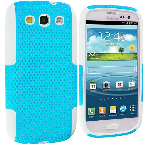 Samsung Galaxy S3 White / Baby Blue Hybrid Mesh Hard/Soft Case Cover
