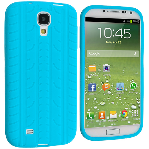 Samsung Galaxy S4 Baby Blue Tire Tread Silicone Soft Skin Case Cover