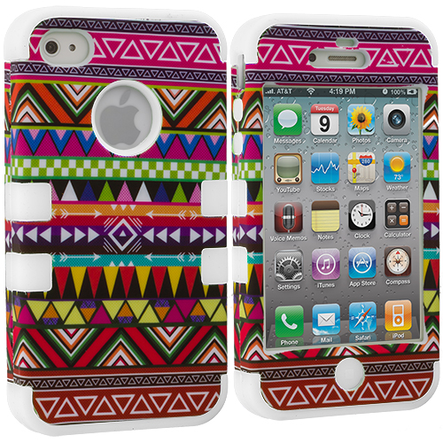 Apple iPhone 4 / 4S White Tribal Hybrid Tuff Hard/Soft 3-Piece Case Cover