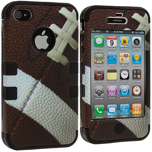 Apple iPhone 4 / 4S Football Hybrid Tuff Hard/Soft 3-Piece Case Cover