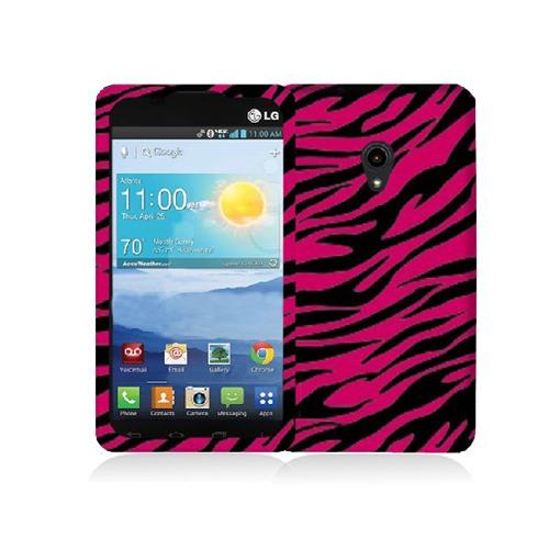 LG Lucid 2 VS870 Black / Hot Pink Zebra Hard Rubberized Design Case Cover