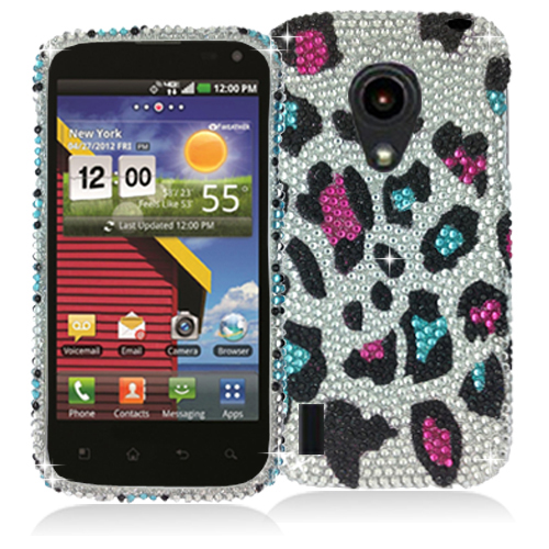 LG Lucid 2 VS870 Colorful Leopard Bling Rhinestone Case Cover