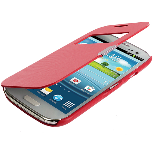 Samsung Galaxy S3 Red Texture (Open) Magnetic Wallet Case Cover Pouch