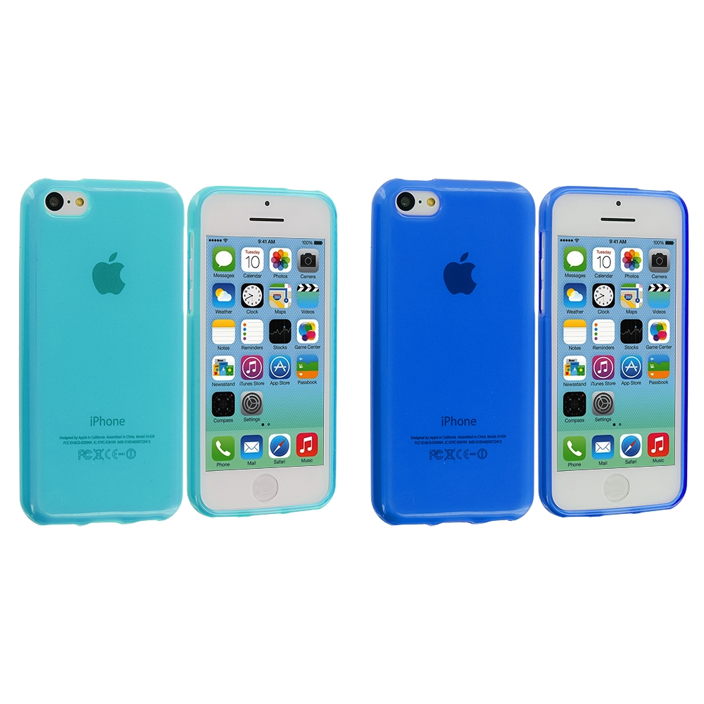 Apple iPhone 5C 2 in 1 Combo Bundle Pack - Baby Blue TPU Rubber Skin Case Cover