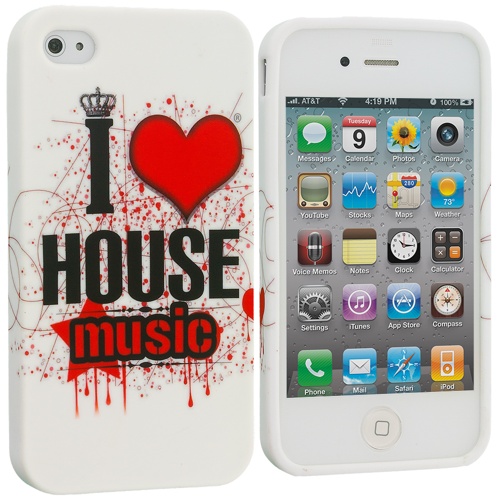 Apple iPhone 4 / 4S House Music TPU Design Soft Case Cover