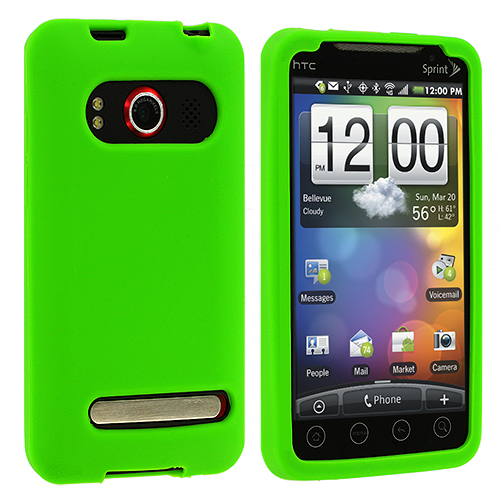 HTC EVO 4G Green Silicone Soft Skin Case Cover