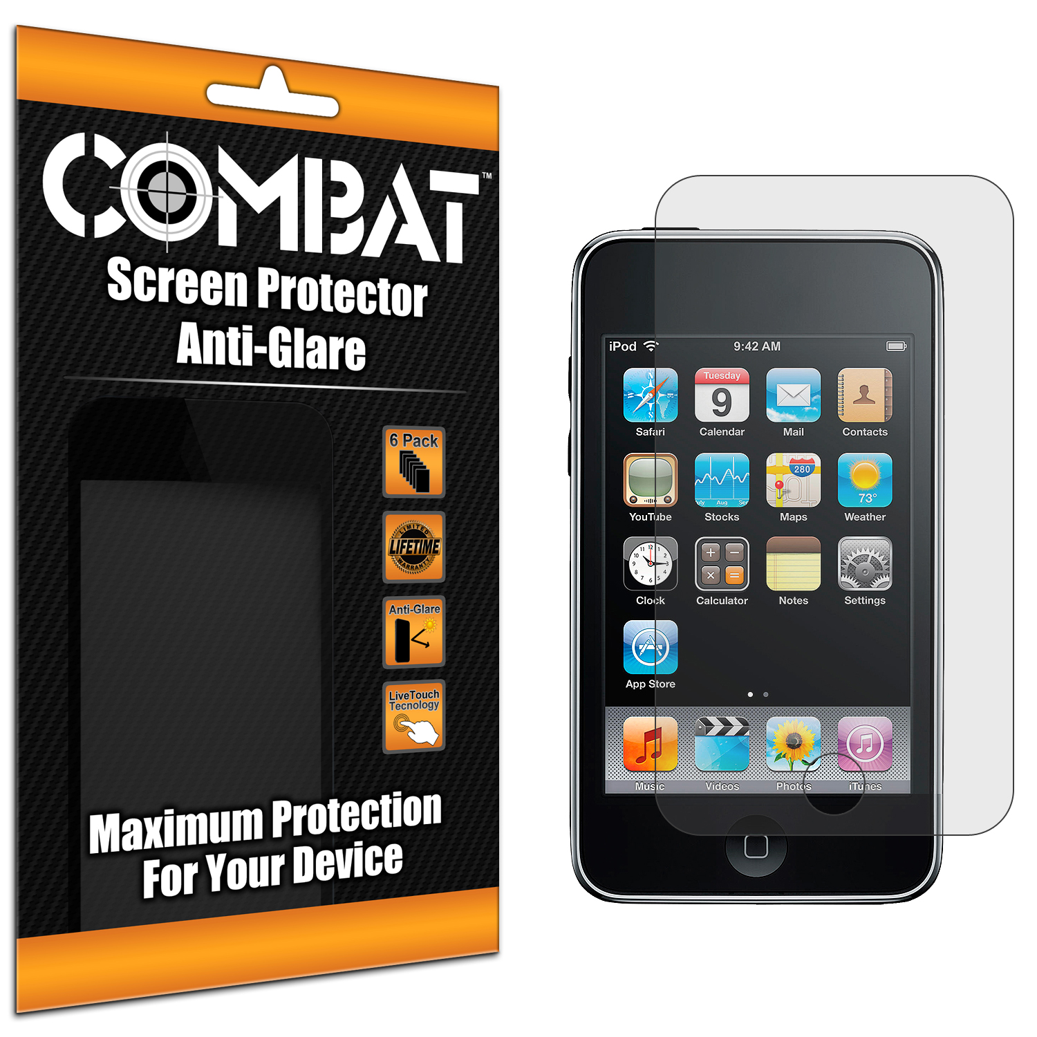 Apple iPod Touch 3rd 2nd Generation Combat 6 Pack Anti-Glare Matte Screen Protector