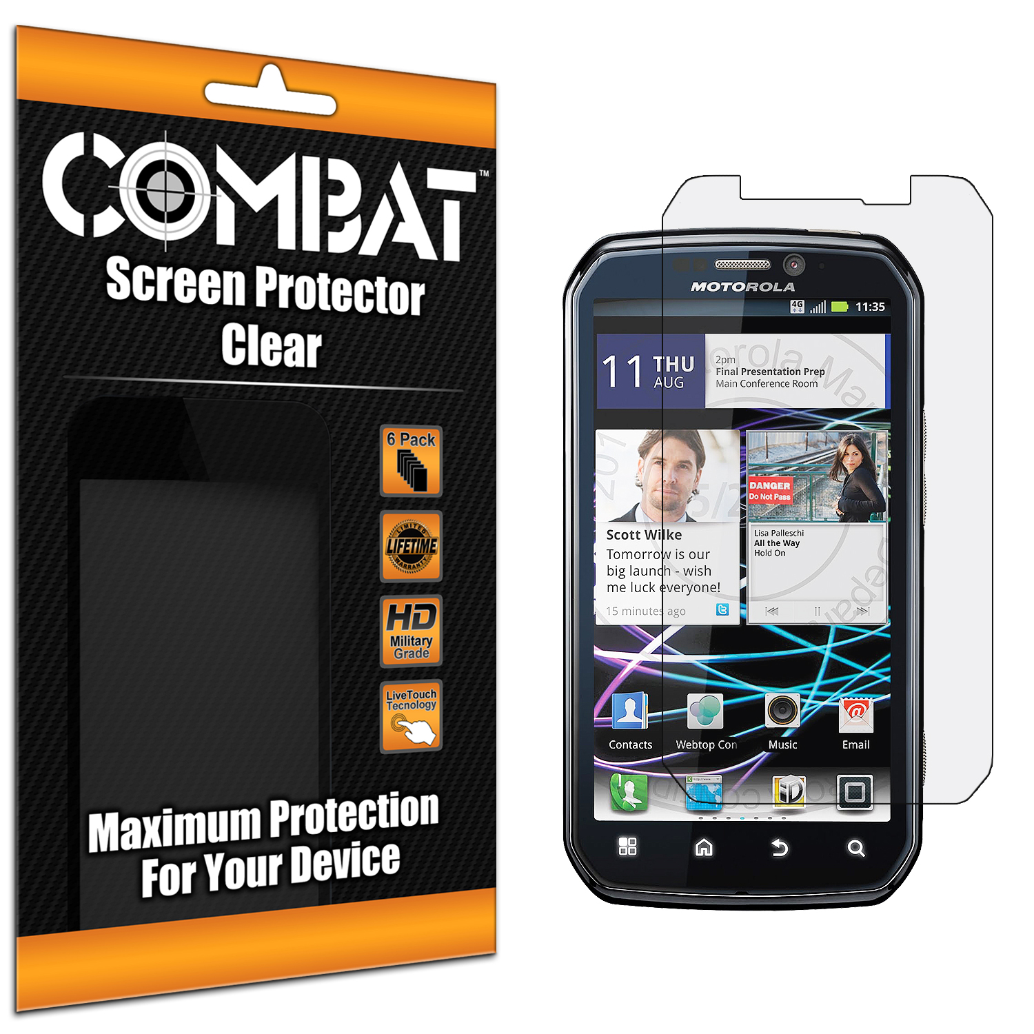 Motorola Photon 4G MB855 Combat 6 Pack HD Clear Screen Protector