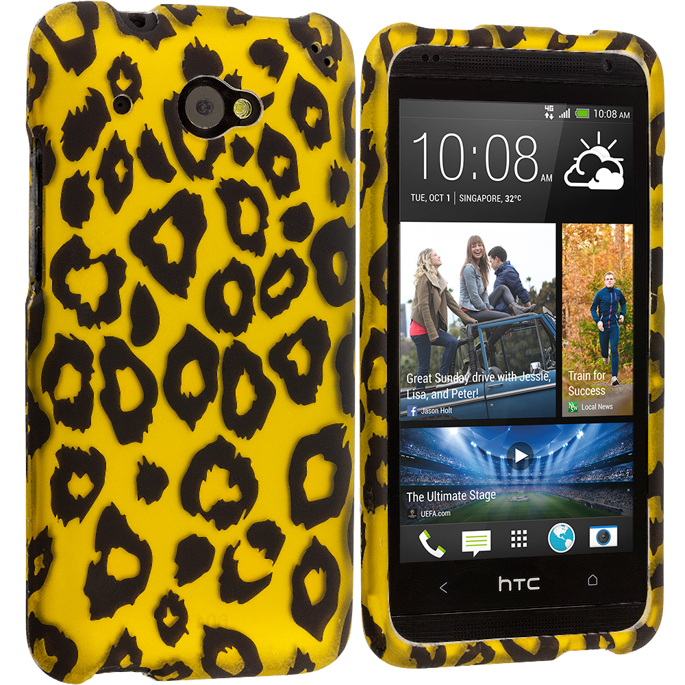 HTC Desire 601 Black Leopard on Golden 2D Hard Rubberized Design Case Cover