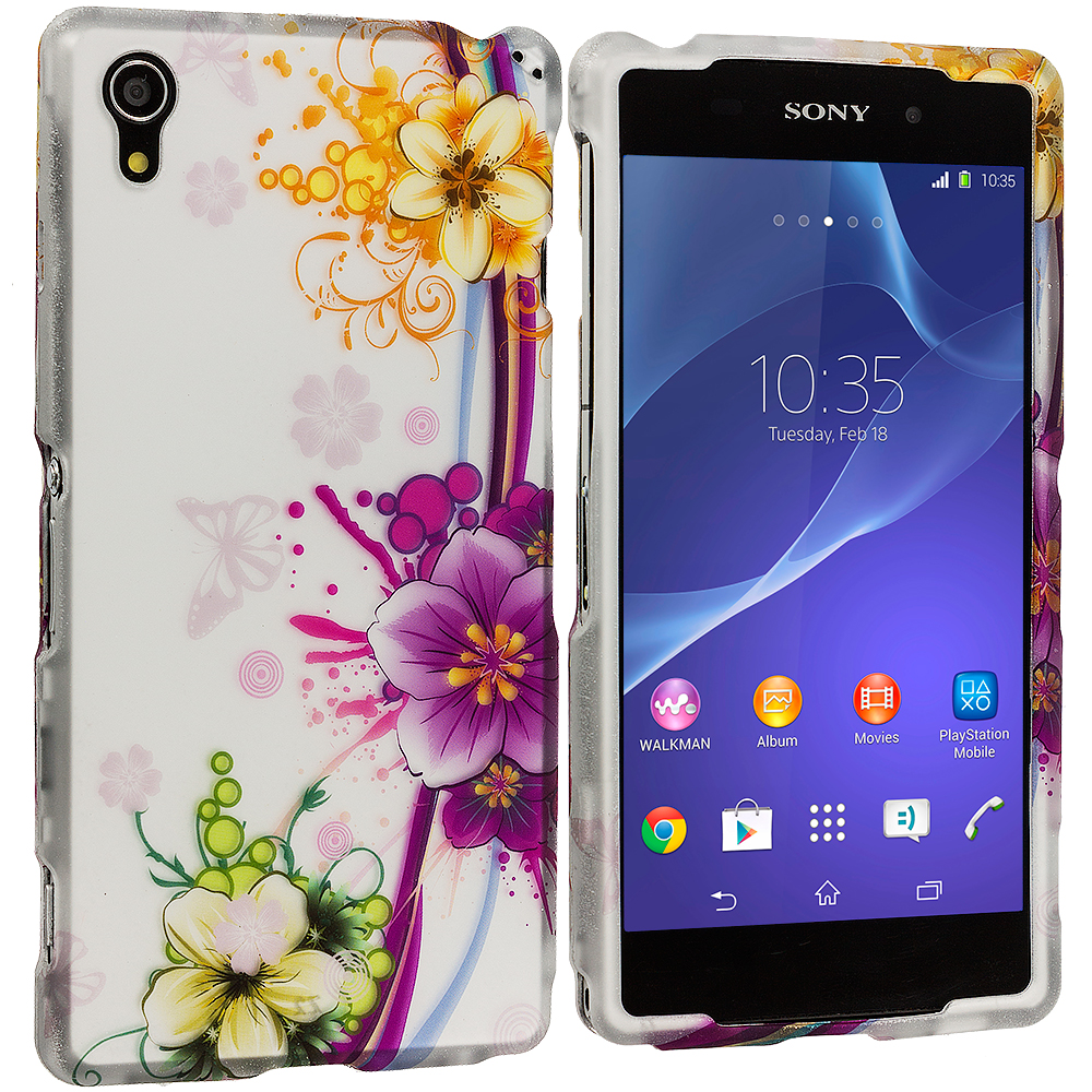 Sony Xperia Z2 Purple Flower Chain 2D Hard Rubberized Design Case Cover