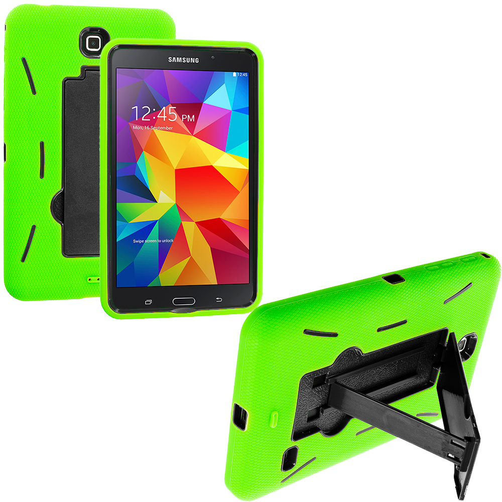 Samsung Galaxy Tab 4 7.0 Neon Green / Black Hybrid Heavy Duty Hard/Soft Case Cover with Stand