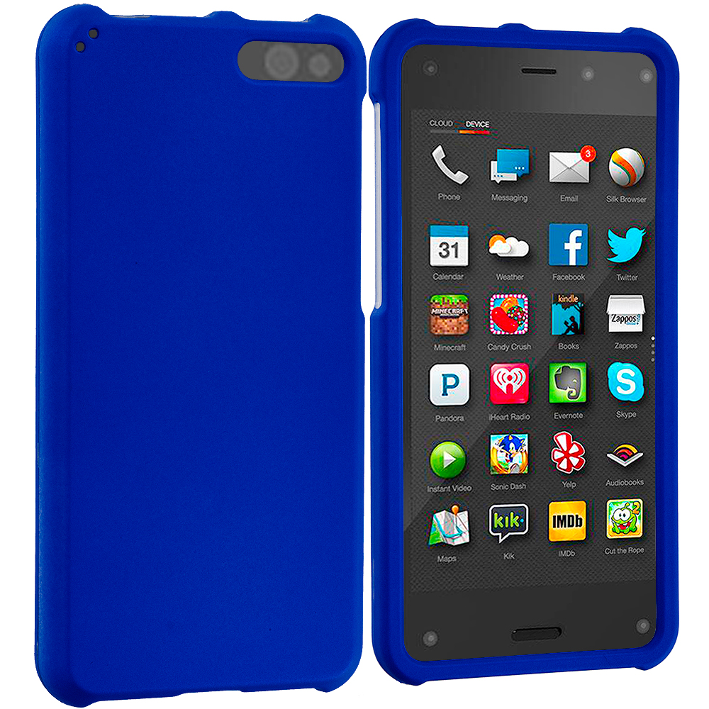 Amazon Fire Phone Blue Hard Rubberized Case Cover