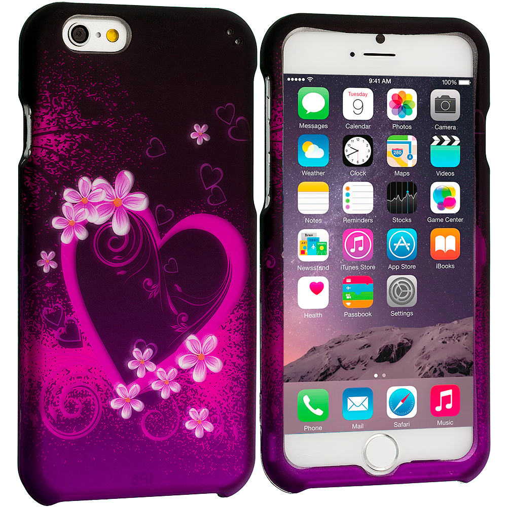 Apple iPhone 6 6S (4.7) Purple Love 2D Hard Rubberized Design Case Cover