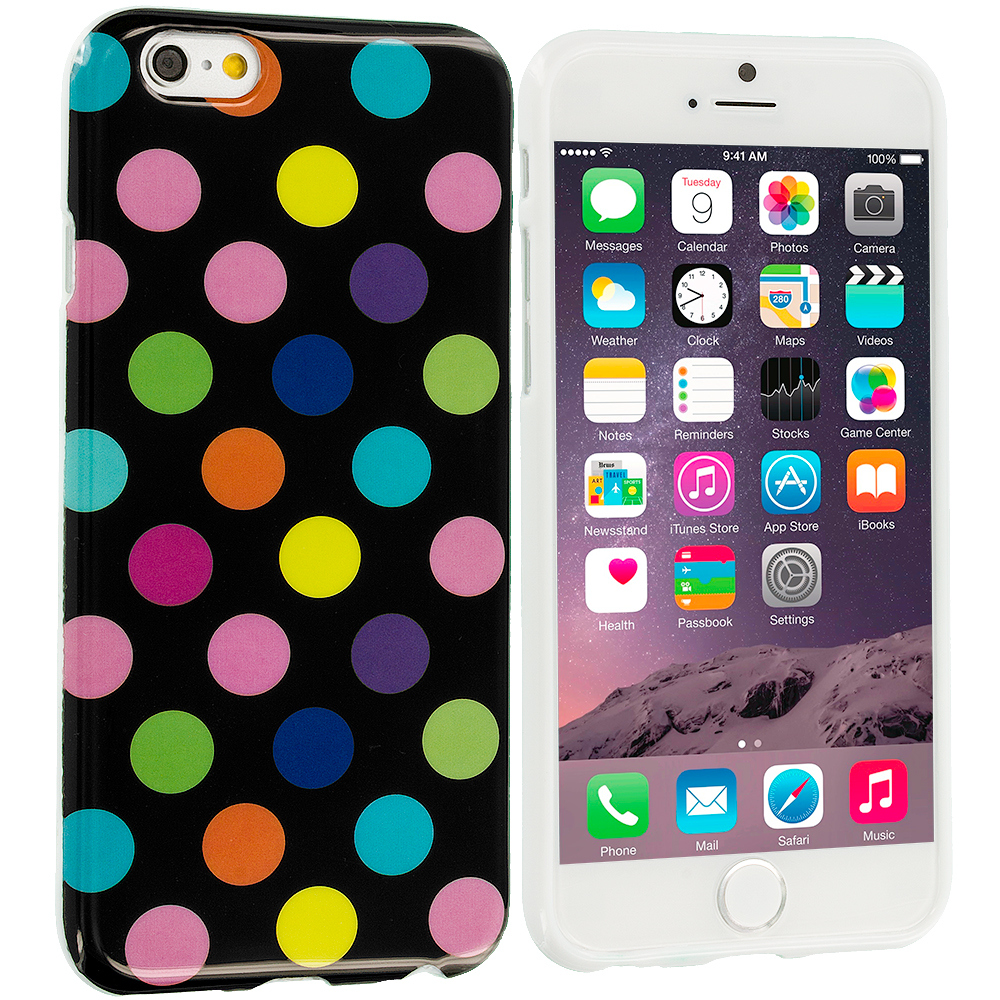 Apple iPhone 6 Plus 6S Plus (5.5) Black / Colorful TPU Polka Dot Skin Case Cover