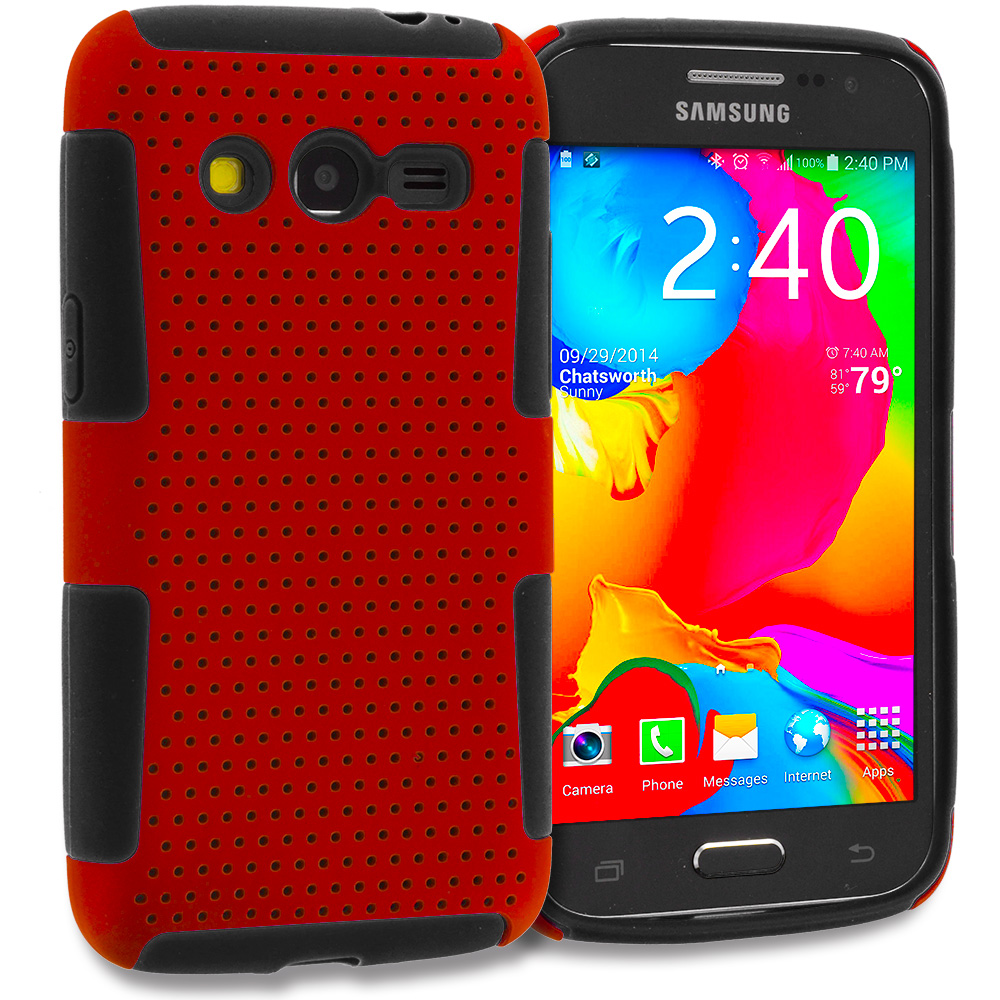Samsung Galaxy Avant G386 Black / Red Hybrid Mesh Hard/Soft Case Cover