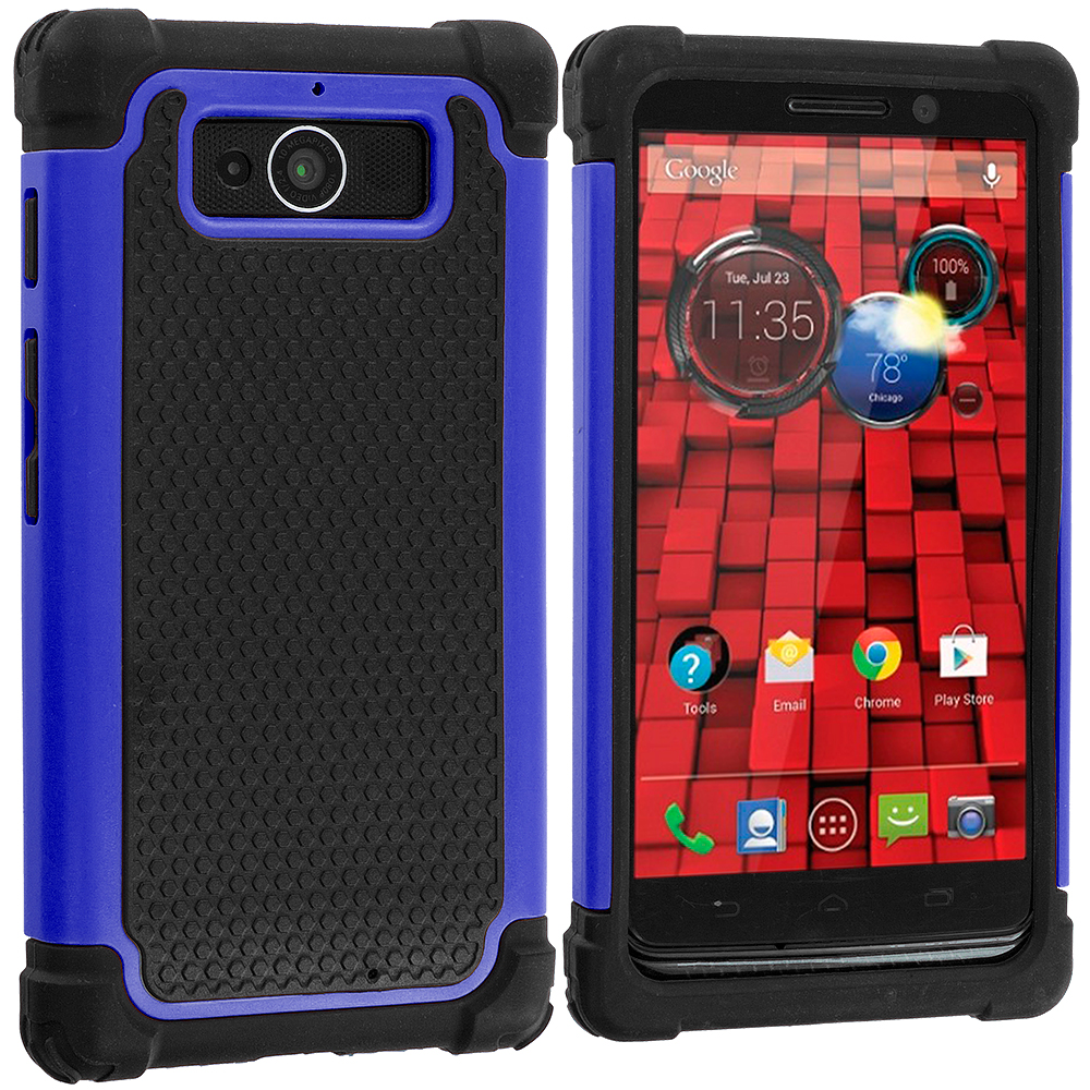 Motorola Droid Mini XT1030 Black / Blue Hybrid Rugged Grip Shockproof Case Cover