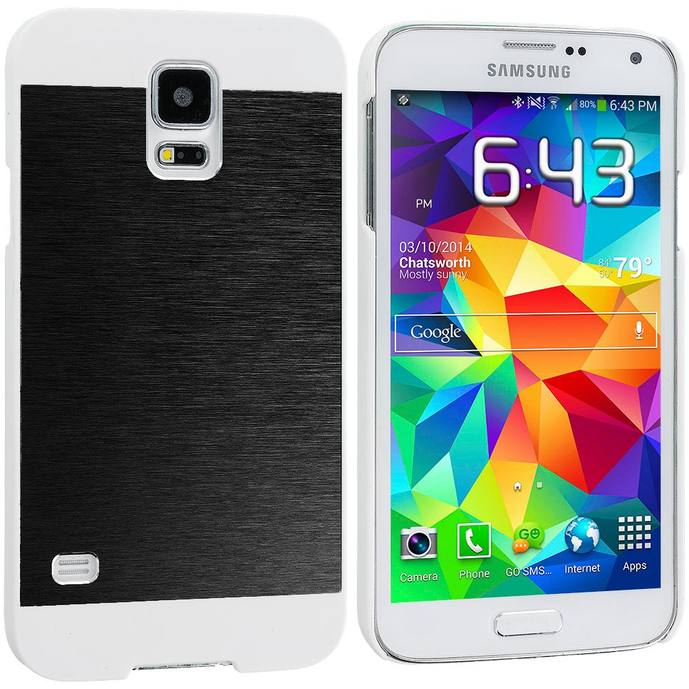 Samsung Galaxy S5 Black / White Hybrid Luxury Aluminum Hard Case Cover