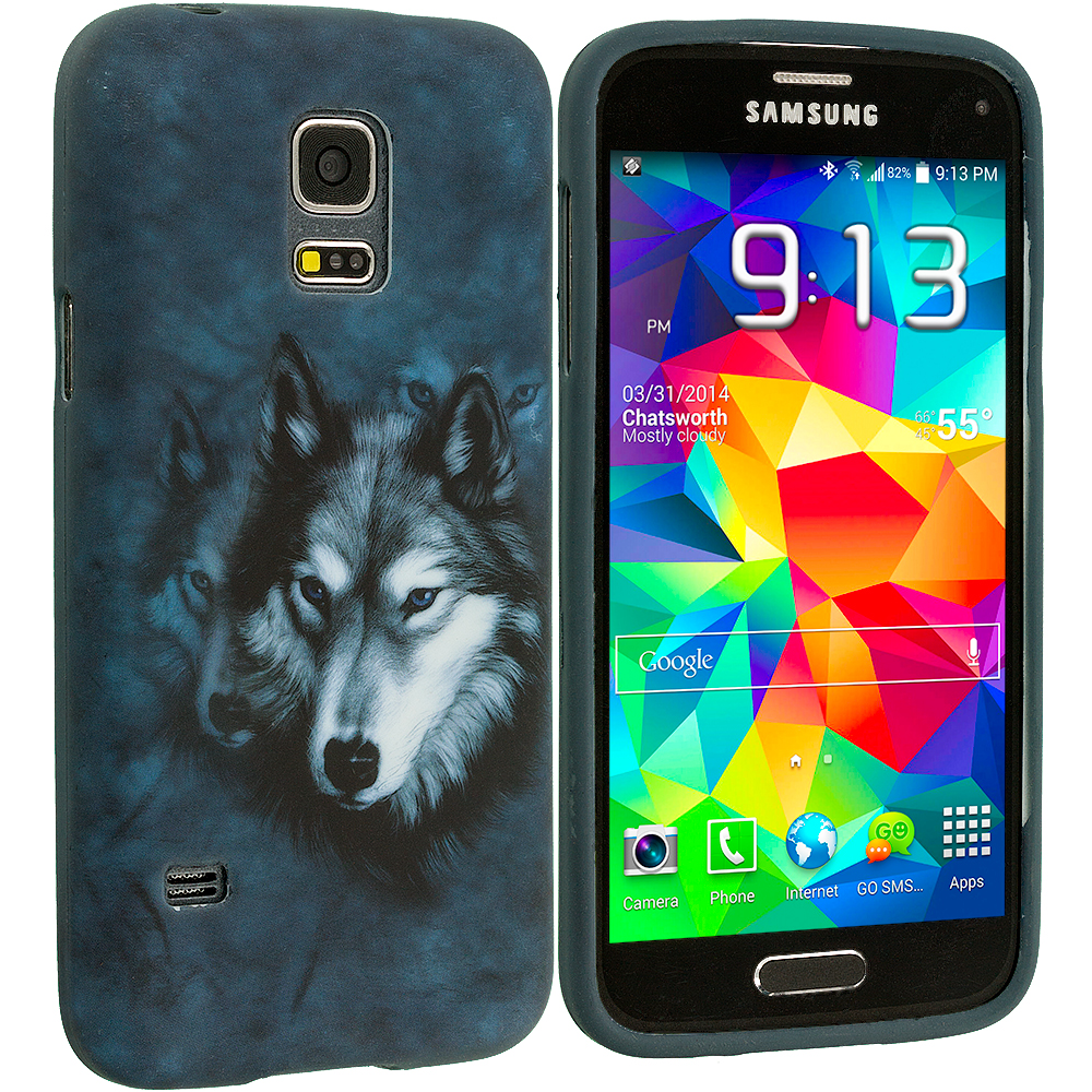 Samsung Galaxy S5 Mini G800 Wolf TPU Design Soft Rubber Case Cover