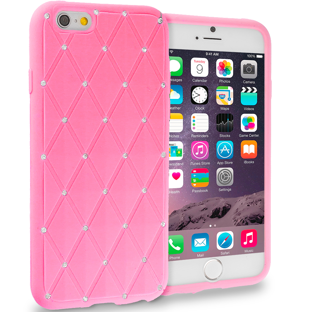 Apple iPhone 6 6S (4.7) Pink Diamond Bling Silicone Soft Rubber Skin Case Cover