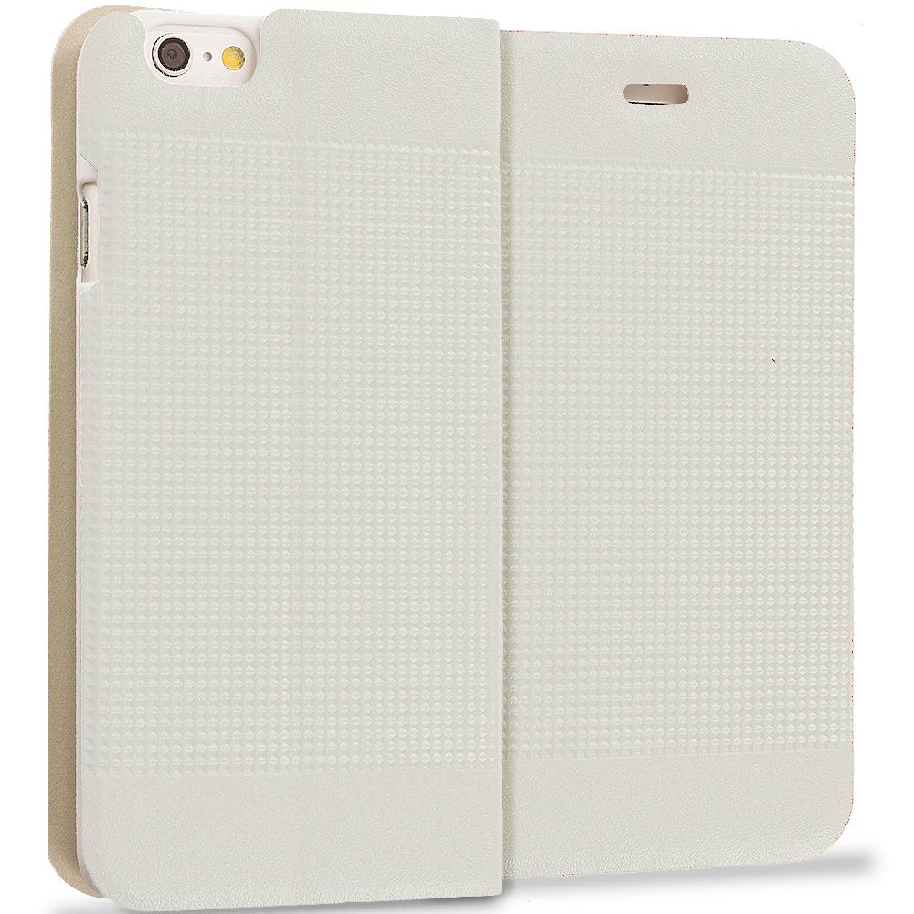 Apple iPhone 6 6S (4.7) White Slim Wallet Flip Design Case Cover
