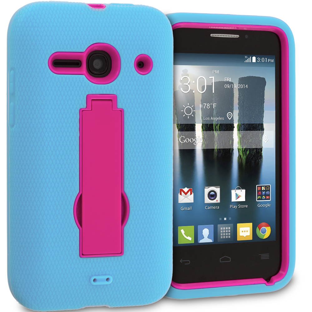 Alcatel One Touch Evolve 2 Baby Blue / Hot Pink Hybrid Heavy Duty Hard Soft Case Cover with Kickstand