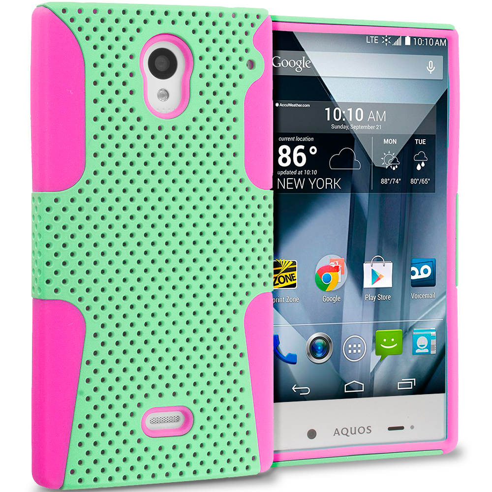 Sharp Aquos Crystal Hot Pink / Mint Green Hybrid Mesh Hard/Soft Case Cover