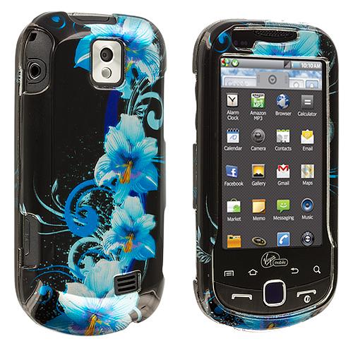 Samsung Intercept i910 Blue Flower Design Crystal Hard Case Cover