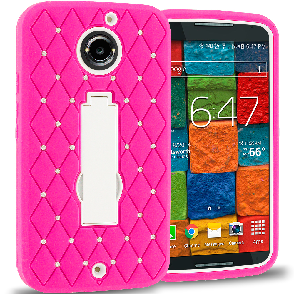 Motorola Moto X 2nd Gen Hot Pink / White Hybrid Diamond Bling Hard Soft Case Cover with Kickstand