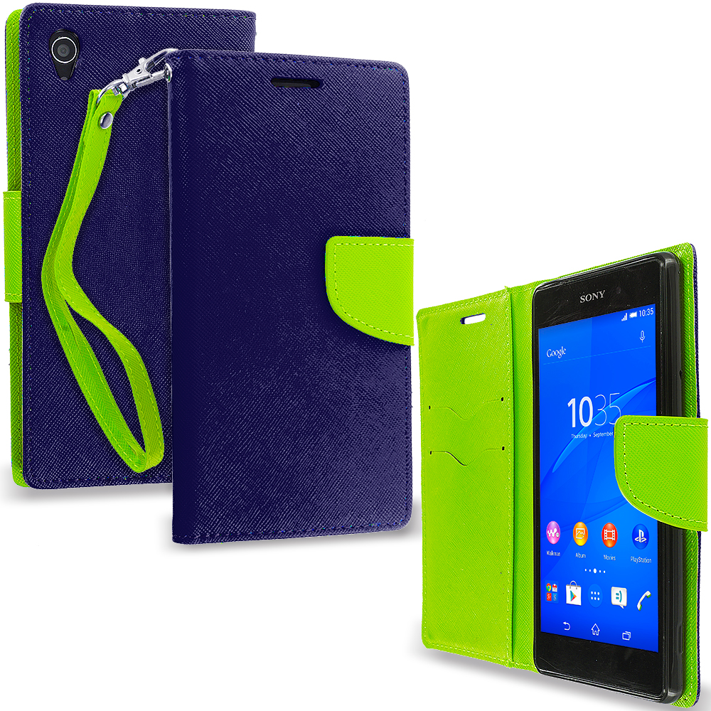 Sony Xperia Z3 Navy Blue / Neon Green Leather Flip Wallet Pouch TPU Case Cover with ID Card Slots