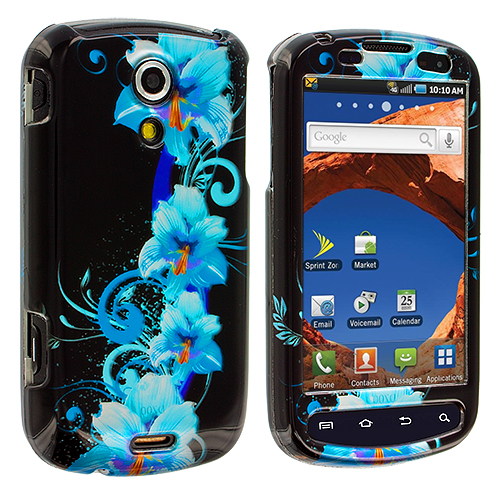 Samsung Epic 4G Blue Flower Design Crystal Hard Case Cover